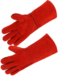 Safety glove. All cow split leather. Fully coton lined. 35 cm. Aramid yarn.