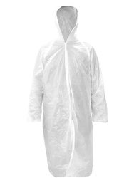 Clear polyethylene coat with hood. Underindividual polybag.
