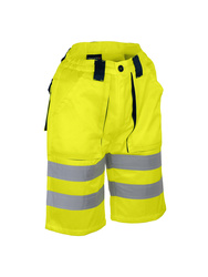 High visibility work short. Cotton/polyester 245 gsm.