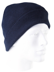 Knitted acrylic hat. Navy blue colour.