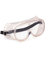 Safety googles. Indirect ventilations. Clear lens.