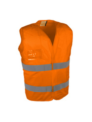 High visibility waistcoat. Ventilated (mesh fabric)