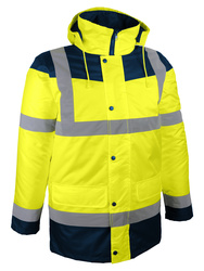 Foul weather high visibility parka. Polyester lining.