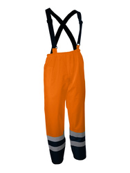 Foul weather high visibility suspender pants
