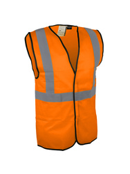 High visibility vest. 100% polyester. Self-grip fastening.